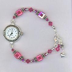 Hand Made Custom Swarovski Crystal Beaded Watch by Mp Designs Jewelry… Jewelry Making Beads, Jewelry Art, Jewelry Gifts, Beaded Jewelry, Jewelery, Jewelry Design, Beaded Bracelets, Beaded Watches, Jewelry Watches