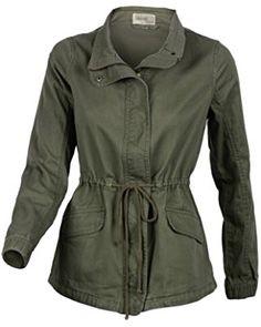 Women's Premium Vintage Wash Olive Green Lightweight Military Fashion Twill Jacket