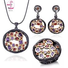 Lady Jewelry Sets AAA Cubic Zirconia Black Gold Color Red Purple Stone Vintage Pendant Earrings Rings Set *** Learn more by visiting the image link. (This is an affiliate link) Fine Jewelry, Women Jewelry, Fashion Jewelry, Pendant Earrings, Ring Earrings, Jewelery, Jewelry Necklaces, Jewelry Accessories, Jewelry Design