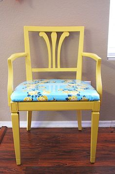 Re-do w/ laminated fabric - chairafter by JonaG, via Flickr Laminated Fabric, Oilcloth, Take A Seat, Light Up, Accent Chairs, Fabrics, Yellow, Room, Diy