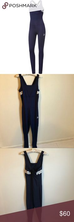 New [Puma] Navy Jumpsuit Workout Gym Xl Back Logo Size xlarge  Brand new with tags  Navy jumpsuit  Workout gym yoga Spellout logo Puma Pants Jumpsuits & Rompers