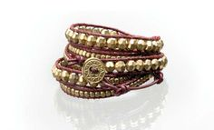 Wrap Bracelet with Gold Beads on Burgundy Leather (lots of other colors too) From  | Recoup to benefit the Miami Childrens's Hospital