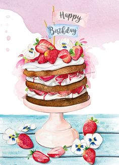 Enya is a UK based food illustrator and graphic designer who specialise in a varity of food, patisserie and florals as well as creating stunning logo designs for cake businesses. Happy Birthday Greetings Friends, Happy Birthday Art, Happy Birthday Wishes Images, Happy Birthday Wishes Cards, Happy Birthday Pictures, Birthday Greeting Cards, Birthday Morning Surprise, Happy Birthday Illustration, Birthday Wishes Flowers