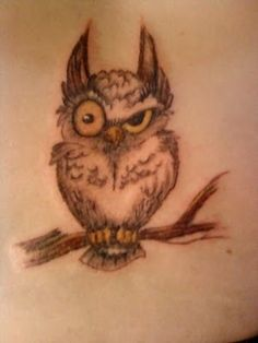Owl tattoo. This owl's expression is one I make all the time. Haha!