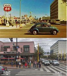 Santa Monica, Then & Now - Colorado & Ocean Blvd California History, Southern California, Old Photos, Vintage Photos, Phillips 66, Santa Monica Blvd, Volkswagen Beetles, San Fernando Valley, Ocean Park