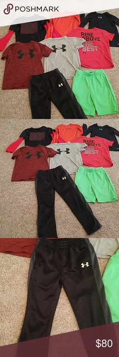 6 shirts, 3 shorts sleeved, 3 long sleeved Black pants and green shorts are size 7. All shirts are size 7 or ysm, except for gray shirt which is a 6. Green shorts have a small spot wherw they are picked as shiwn in picture. Under Armour Bottoms