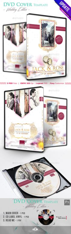 Wedding DVD Cover and DVD Label Template Label templates - abel templates psd