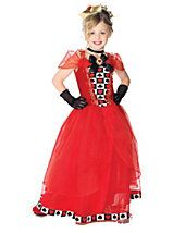 Girls Royal Red Queen Costume DressChokerCrownYour child can rule all of Wonderland in this girls royal red queen costume! The red polyester dress features a ve Red Queen Costume, Queen Of Hearts Costume, Halloween Costumes For Girls, Girl Costumes, Party Costumes, Halloween 2013, Disney Halloween, Funny Halloween, Costume Shop
