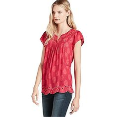Lucky Brand Womens Cutout Embroidered Top in Fuschia Fuchsia Multi Large >>> Learn more by visiting the image link.(This is an Amazon affiliate link)