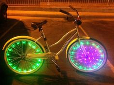 Glowmatic Sweeeeeet LED Bike Lights by Glowmatic on Etsy Steam Punk, Led, Bike Decorations, Innovation, Bicycle Workout, Gadgets, Cool Bike Accessories, Wheelchair Accessories, Bicycle Maintenance