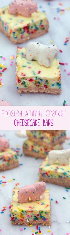Frosted Animal Cracker Cheesecake Bars -- Funfetti cheesecake with a circus animal cookie crust!   wearenotmartha.com