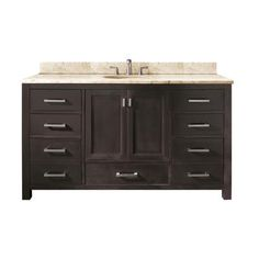 Avanity - Modero 60 Inch Single Vanity with Galala Beige Marble Top And Single Sink in Espresso Finish (Faucet not included) - MODERO-VS60-ES-A-B - Home Depot Canada