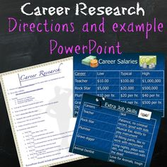 Career research project. Directions, examples, handout
