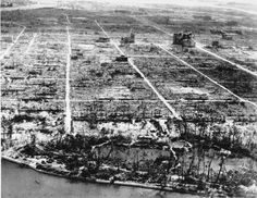 "This photo shows the total destruction of the city of Hiroshima, Japan, on April 1, 1946. The atomic bomb known as ""Little Boy"" was dropped over Hiroshima on Aug. 6, 1945 during World War II from the U.S. AAF Superfortress bomber plane called ""Enola Gay."" (AP Photo) #"