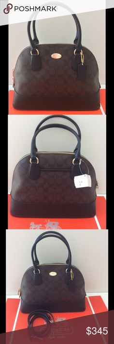 """Coach Signature Logo Domed Satchel NWT Timeless, beautiful, classic brown & black Coach logo leather with brass. Detachable cross body strap. Authentic. Interior zip pocket & 2 slip pockets. Small exterior back pocket Very nice size 12.5"""" L X 9""""H X 5.5""""W. Handle drop 4.5"""". NWT ⭐️Suggested user Trades Coach Bags Satchels"""