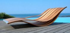 minimalist design patio deck chair side view by Pooz