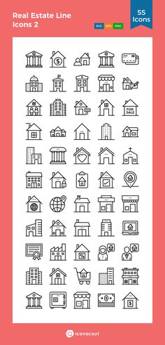 Real Estate Line Icons 2  Icon Pack - 55 Line Icons