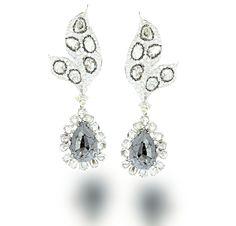 L' Dezen Jewellery LOHAR White Gold Slice Diamond, White & Black Diamond Earrings