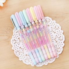 These rainbow ink gel pens are perfect for planning, for work, home, desk or for school. They will be a beautiful addition to your pen collection! They come in a few different colors for the caps. The