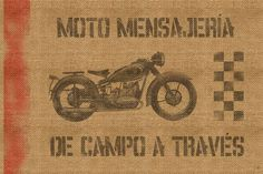 """""""Moto"""" by Brandon Mart, Phoenix // Inspired by old time couriers and my passion for motorcycling, I used a detailed burlap texture to create this image of what looks like a weathered motorcycle couriers bag. The language is Spanish, and it translates to 'Cross Country Motorcycle Courier.' // Imagekind.com -- Buy stunning, museum-quality fine art prints, framed prints, and canvas prints directly from independent working artists and photographers."""