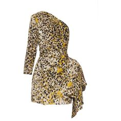 Roberto Cavalli One-shoulder cheetah-print silk dress (€1.355) ❤ liked on Polyvore featuring dresses, brown one shoulder dress, cheetah print dress, brown cocktail dress, silk dress and one shoulder dress