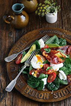 spinach, eggs, tomatoes, avocado, buffalo mozzarella salad with toasted ciabatta bread