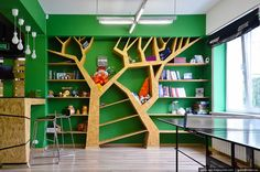 Architecture And Interior Photography Of Siberian Cities - English Russia Bookstore Design, Home Library Design, Kids Library, Space Preschool, Kindergarten Design, Tree Shelf, Library Furniture, Playground Design, Learning Spaces