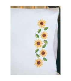 Tobin-Stamped Pillowcase Pair 20 X30  For Embroidery-Sunflower Yo-Yo