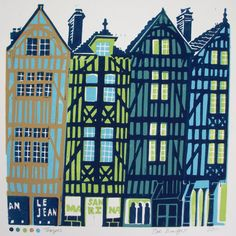 Troyes linocut print ref 139 by Zoe Badger at Zebedeeprint on Etsy