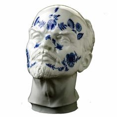 Studio Qubus' An Ornament + A Crime. In this limited-edition work, Maxim Velčovský takes two of the most common decorations of his childhood in the former Czekoslovakia and merges them into this uncommon object—a bust of Lenin decorated with the famous Delft, or blue onion, pattern.