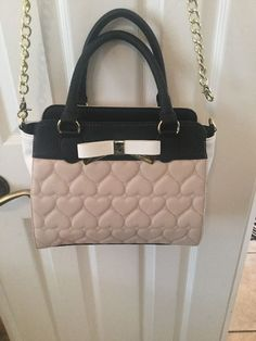 b15a0d76df12 Betsey Johnson Winged Quilted Metal Bow Satchel   Crossbody Bag Sand Black  ~ NWT