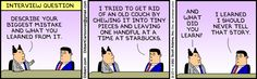 #FunnyInterviewStories - www.impactinterview.com Funny Interview, Interview Questions, Dilbert Comics, Graduate Jobs, Online Application Form, Website Features, Describe Yourself, Business Advice, I Tried