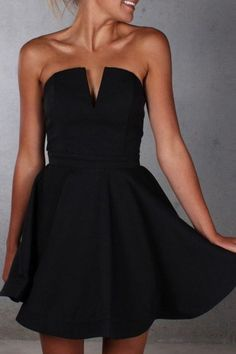 A-Line Strapless Satin Dresses,Little Black Dresses,Short Women Outfits