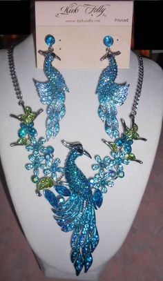 Kirks Folly Peacock Phoenix Necklace Earrings