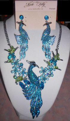 Kirks Folly Peacock Phoenix Necklace Earrings