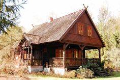Tiny Log Cabins, Log Cabin Homes, Log Homes Exterior, Witch Cottage, House Front Door, Village Houses, Wooden House, House In The Woods, Home Projects