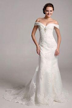 Off-the-shoulder Tulle Applique Trumpet Wedding Dress With Beading $399.99 Vintage Wedding Dresses