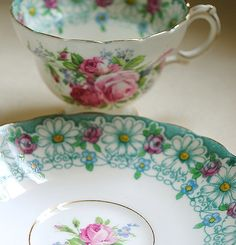Turquoise Floral Teacup & Saucer