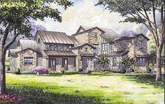 With every luxury at your fingertips, this remarkable Hill Country house plan gives you a fabulous home. Hill Country Homes, Country House Plans, Dream House Plans, House Floor Plans, Master Suite, Master Bath, Villas, Game Room Bar, Tuscan Design
