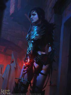 Artist: Maciej Kuciara aka Maciej - Title: Legend of Cryptids - Card: Lost Dragoon Velia