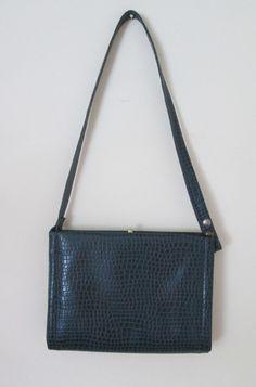 Blue Reptile Look Purse Shoulder Bag 1960s Mad Men by MrsDinkerson, $24.49