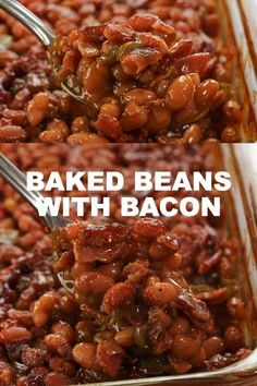 Best Baked Beans, Baked Beans With Bacon, Homemade Baked Beans, Baked Bean Recipes, Cheesy Recipes, Bacon Recipes, Mexican Food Recipes, Appetizer Recipes, Crockpot Recipes