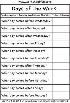 Days of the Week –  Worksheet / FREE Printable Worksheets