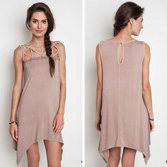 Cut Out Collar Dress - Mocha - $39.50