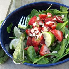 Strawberry Spinach Salad with Balsamic Lime Dressing