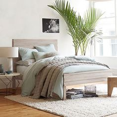 Stria Bed - Cerused White #westelm