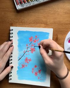 Gouache cherry blossoms 🌸 Trying out new mediums can be so fun! I had a blast using gouache to paint delicate cherry blossoms against a bright blue sky. Watercolour Painting, Watercolor Flowers, Painting & Drawing, Painting Videos, Sky Painting, Drawing Sky, Hand Painting Art, Cherry Blossom Painting, Cherry Blossoms