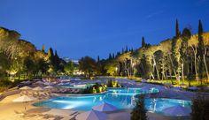 Outdoor pool at night @ Hotel Lone in Rovinj, Croatia