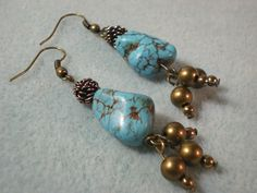 chunky turquoise dangle earrings - Video Tutorial