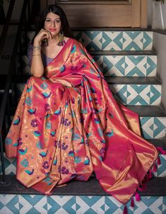 Work Type: Weaving Work Saree Color: Pink Blouse Color: Violet Saree Fabric: Kanjivaram Art Silk Blouse Fabric: Kanjivaram Art Silk Saree Size: Metres Blouse Piece Size: Metre Blouse is delivered Unstitched. Note: The color Brocade Lehenga, Banarasi Sarees, Sari, Saree Styles, Blouse Styles, Blouse Designs, Reception Sarees, Women Clothing Stores Online, Beautiful Girl Indian